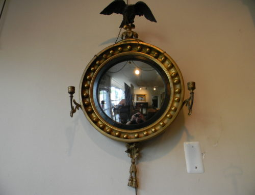 Gilt Convex Mirror, with Candle Arms,Backing with Circa 1813 Delaware newspaper.