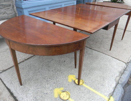 Mahogany 3 Part Inlaid Dining Table, New England Circa 1800.
