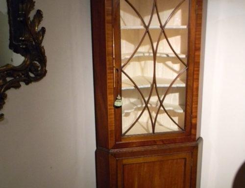 Mahogany Inlaid Corner Cpd. 2 Piece Small Size Circa 1800.