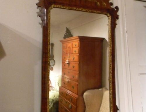 "Queen Anne Incised Carved Mirror, 36""t"