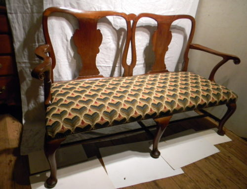 "Queen Anne Mahogany Sette,Circa 1740, Nicely Scrolled Arms, Irish or Southern Origin, 64""w."