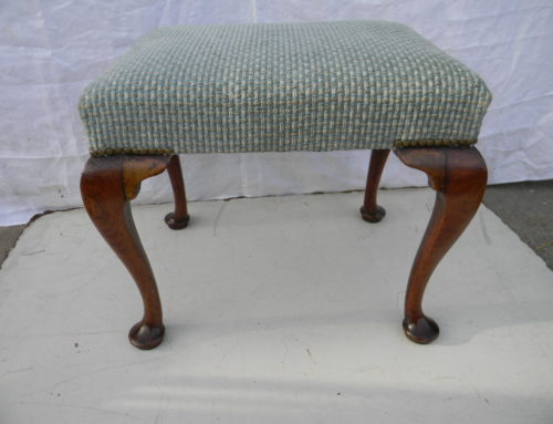 "Queen Anne Mahogany Stool, English Circa 1730-50, Size 21""x 16""x 18""tall."