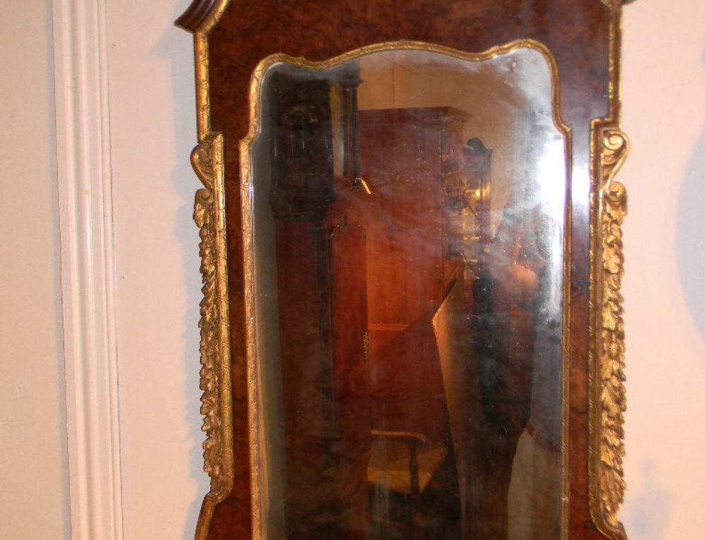 """Burl Walnut Mirror,18th century,47""""tall"""