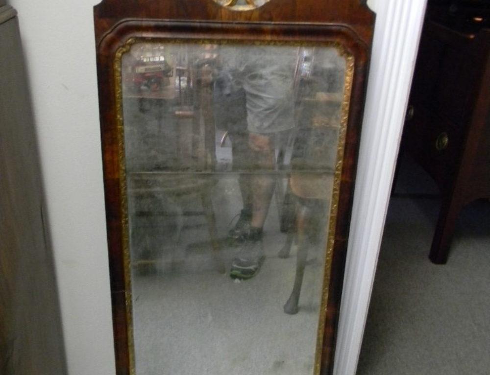 """Queen Anne Walnut Mirror Circa 1730, 46""""t"""
