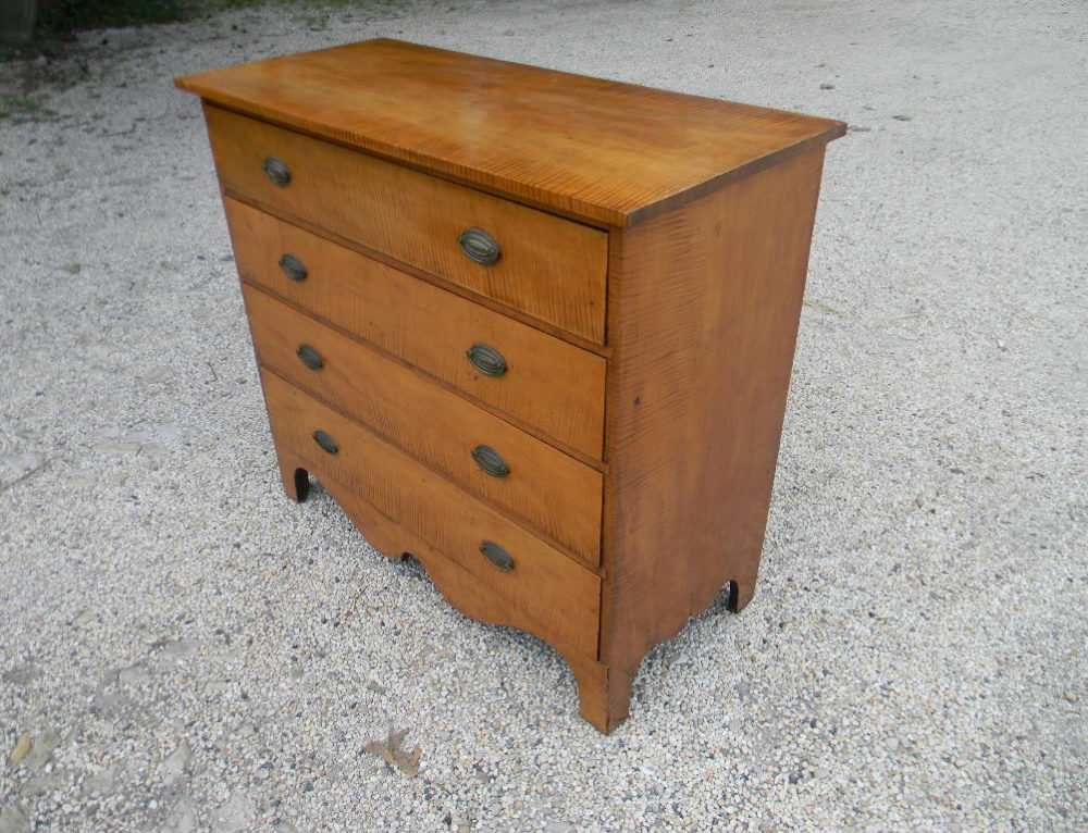"Tiger Maple Chest with Original Brass,40""w-37""t Circa 1800"
