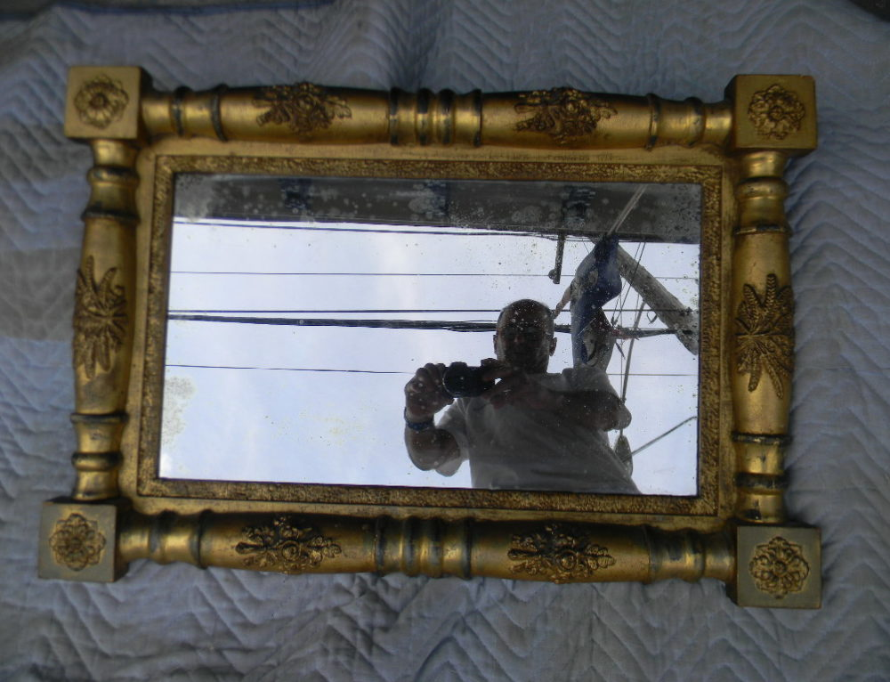 "Gilt Mirror Phila Circa 1830,28""x20""."