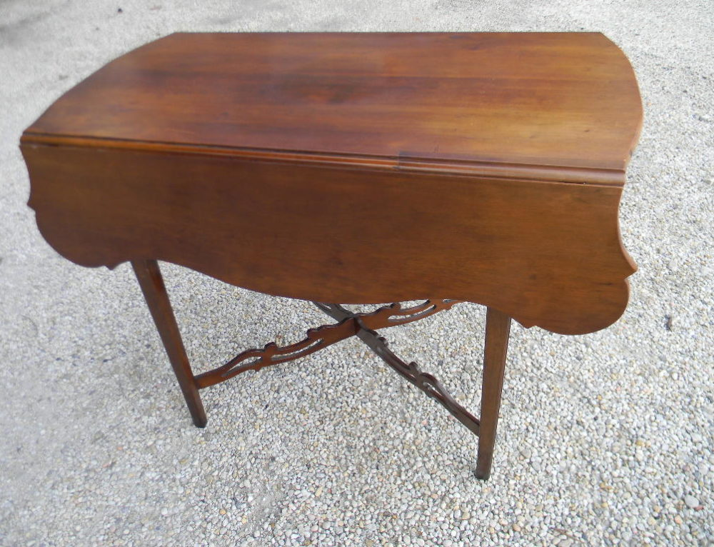 Pembroke Table Cherry, with Pierced Stretcher, New England Ca.1800