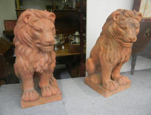 "Terracotta Lions 24""t-18""d-11""w"