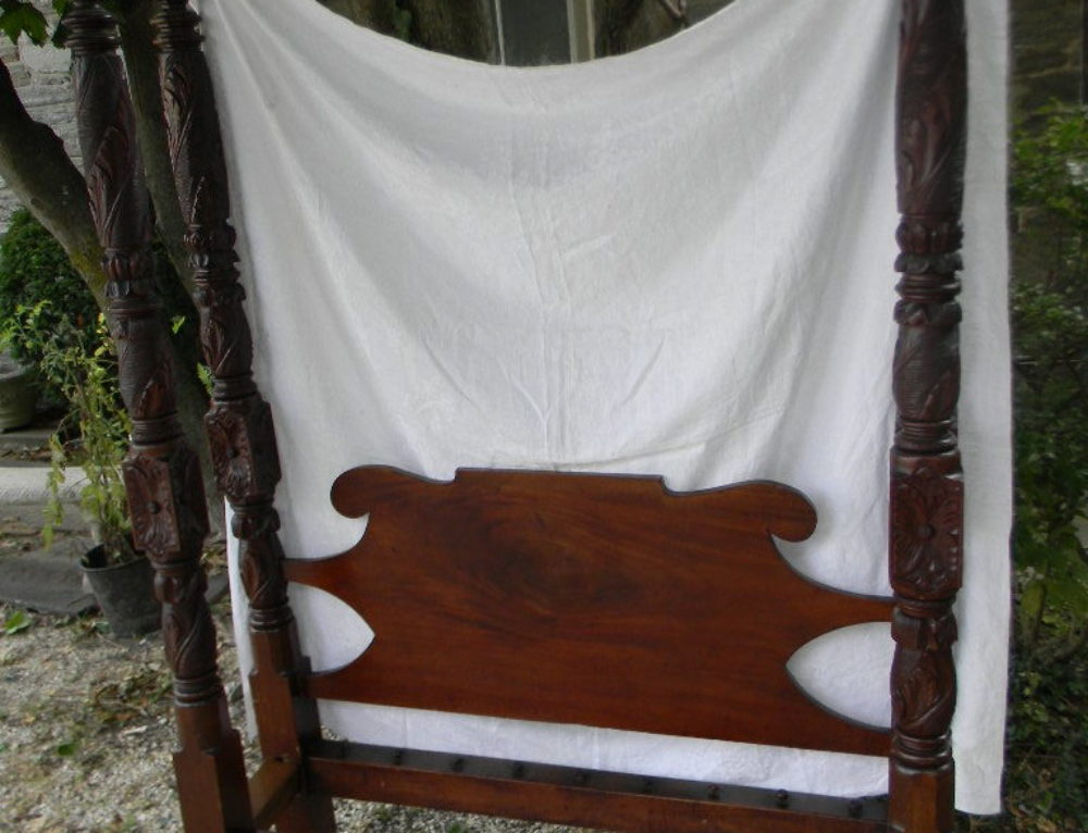 "American Caved Tall Bed 92""t-56""w,Circa 1840"