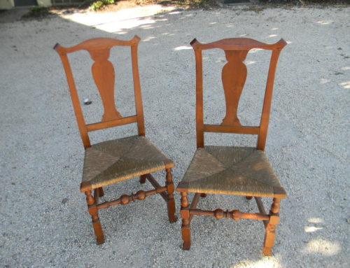 Pair of Walnut Spanish Foot Chairs. New England Circa 1760