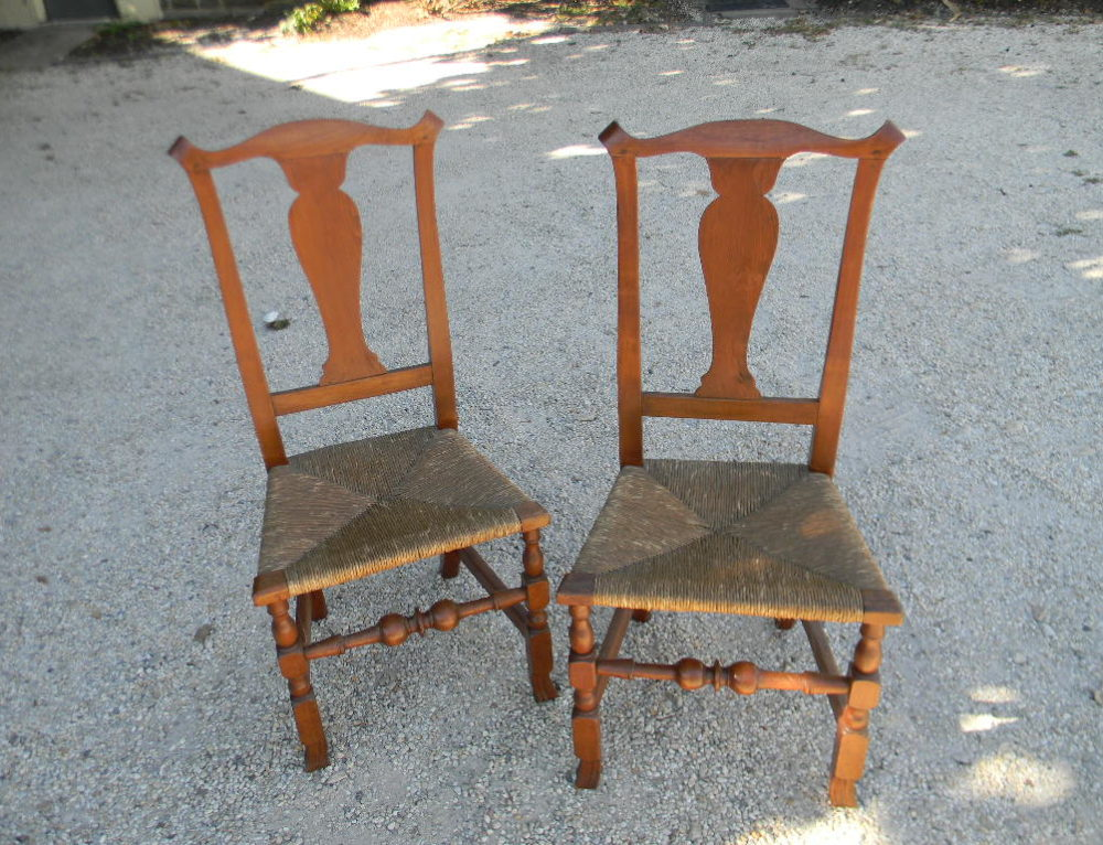 Pair of Walnut Spanish Foot Chairs. New England Circa 1760