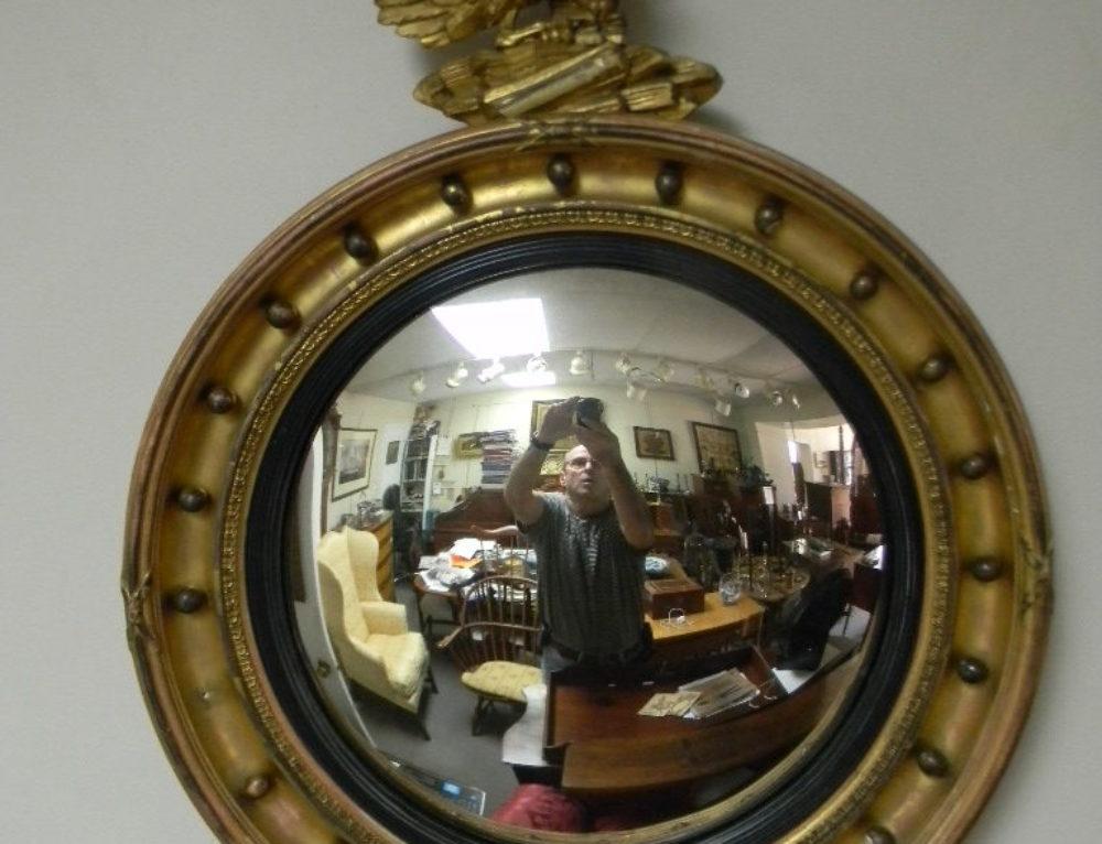 "Gilt Convex Mirror ,late 19th c.32""t"
