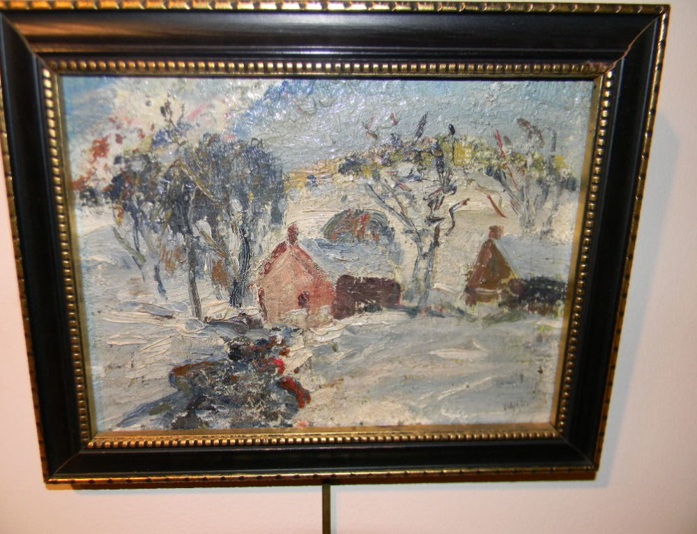 "Snow Scene by W.E. Baum  Sr. 8""x10"""