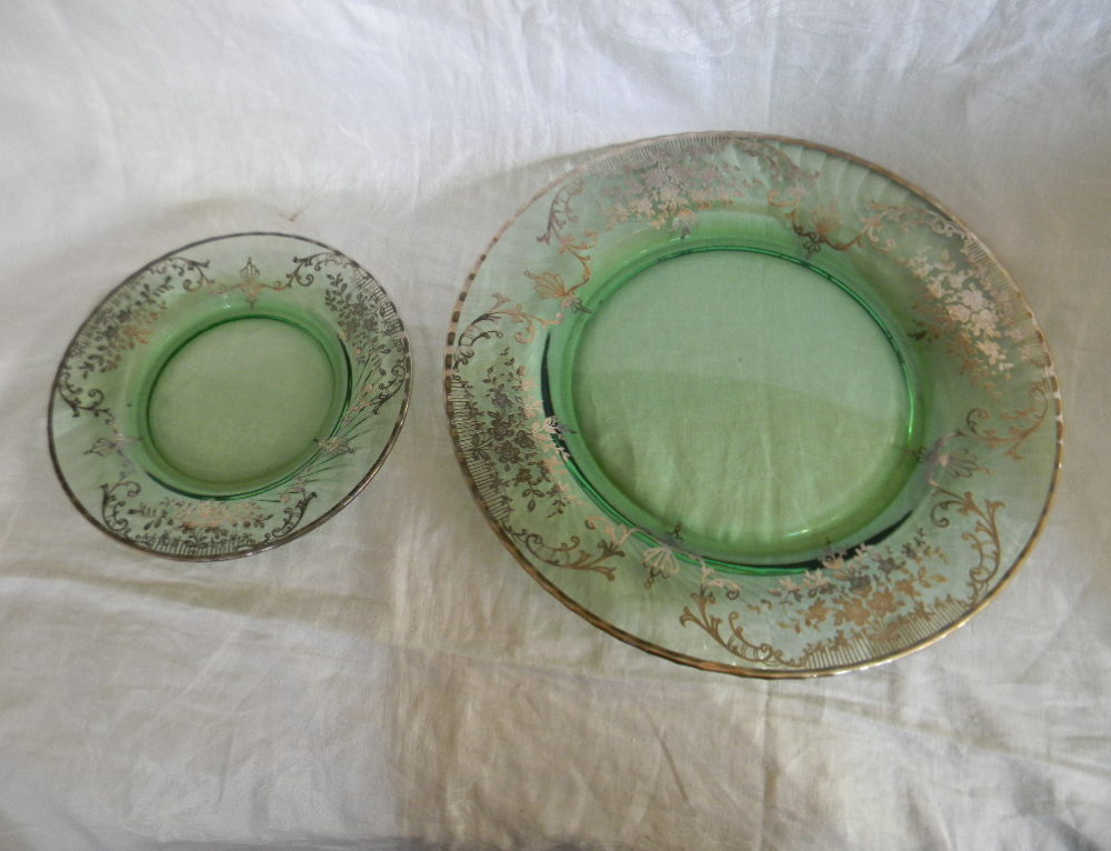 Silver Overlay Tray & 12 plates