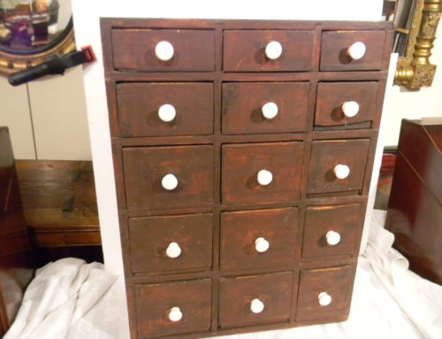 "Apothecary Chest  Older Red Surface 24""t-18""w"