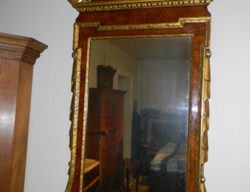 "Burl Walnut Mirror illustrated in 'Stanard Book of American Furn."" by Miller 53""tall"