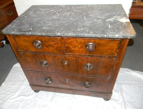 "Burl Walnut Marble Top Chest, 29""w"