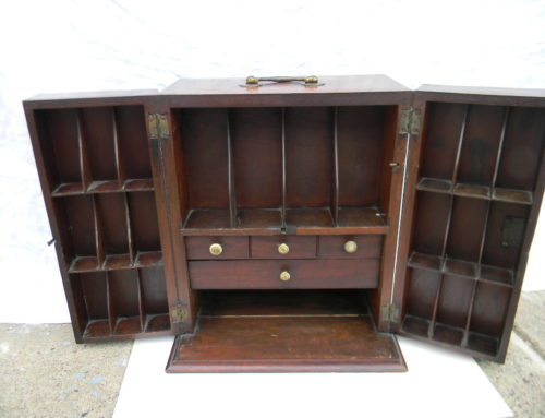 "Mahogany Inlaid Doctors Cabinet,English Circa 1810, 14""tall"