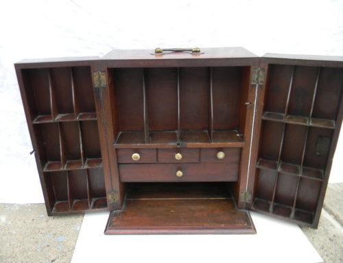"""Mahogany Inlaid Doctors Cabinet,English Circa 1810, 14""""tall"""