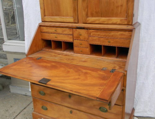 New England Maple 2 Part Secretary Desk Original Feet & Brass Circa 1790-$1700