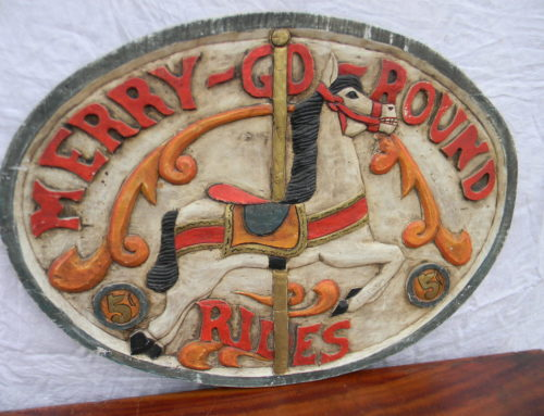 "Sign For ""MERRY  GO ROUND RIDES""wood 31""w"