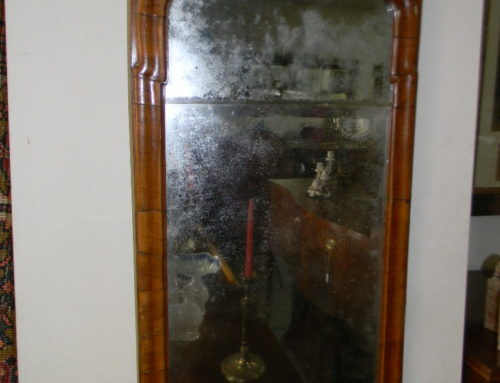 "Queen Anne Mirror Orig.2part glass,31""t"