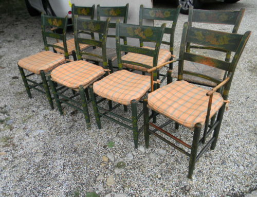 Set of 8 Decorated American Chairs. Circa 1815, $350