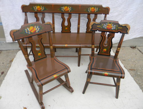 """Childs Size Bench & 2 chairs,22""""t-32""""w"""