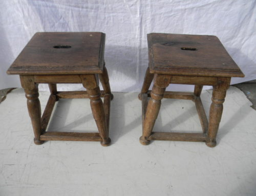 "Pair of 18th Century Oak Stools  13""tall"