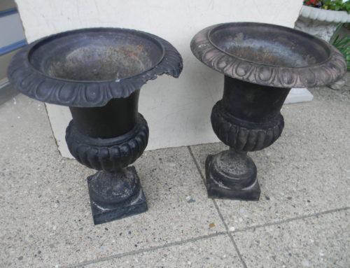 Pair Iron Urns