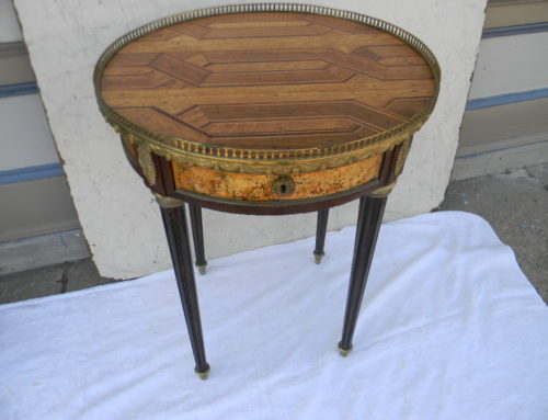 "French Inlaid 19thC Table,29""t-22""w"