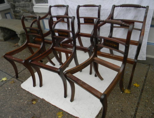 Set 6 Mahogany Brass Inlaid Regency Chairs