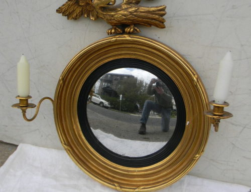 "Gilt Convex Mirror with  candle arms ,24""t"