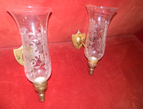 Pair Sconce,Orig.Hurricane Shades