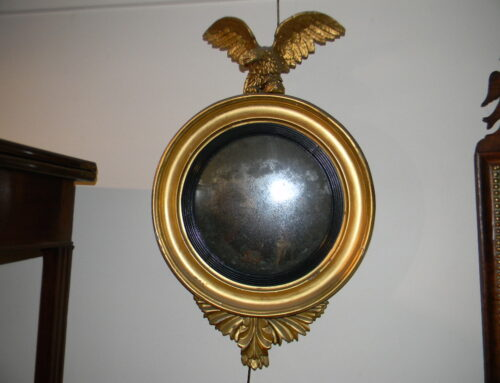 "Gilt Convex Mirror , Circa 1825,27""t"