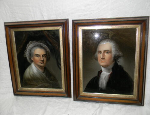 George & Martha Washington Reverse Paintings on Glass 19th century