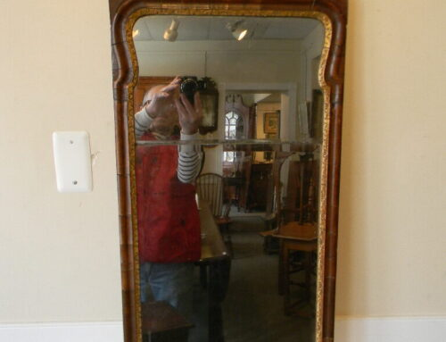 "Queen Anne Incise Carved Mirror 43""tall Circa 1730"