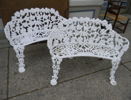 Pair Cast Iron Garden Benches