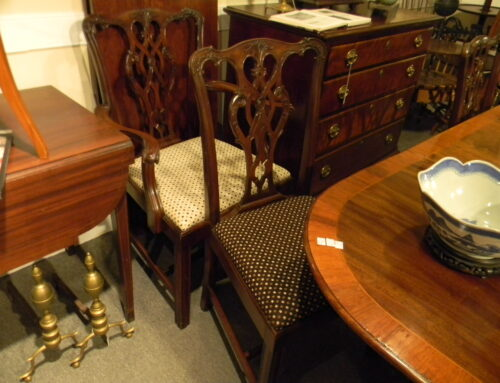 Set of 7 Chippendale Style Dining Chairs.
